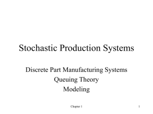 Stochastic Production Systems Discrete Part Manufacturing Systems Queuing Theory Modeling