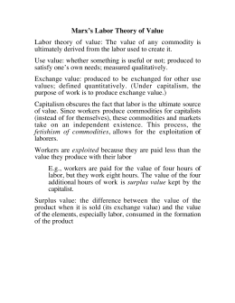 Marx's Labor Theory of Value