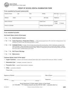 PROOF OF SCHOOL DENTAL EXAMINATION FORM /