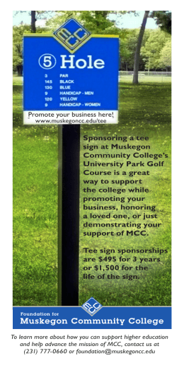 Sponsoring a tee sign at Muskegon Community College's University Park Golf