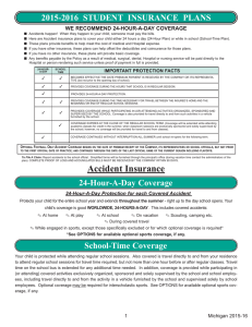 2015-2016  STUDENT  INSURANCE  PLANS WE RECOMMEND 24-HOUR-A-DAY COVERAGE