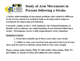 Study of Arm Movements in Persons following a Stroke