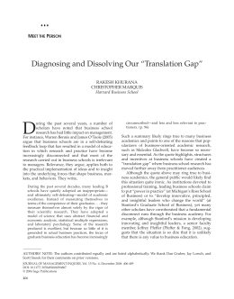 "D Diagnosing and Dissolving Our ""Translation Gap"" M P"