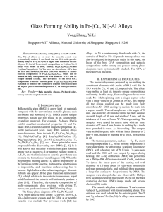 Glass Forming Ability in Pr-(Cu, Ni)-Al Alloys Yong Zhang, Yi Li