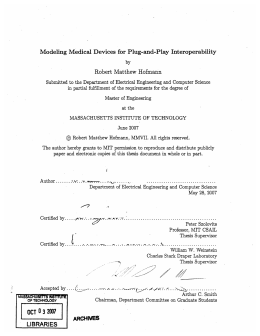 Modeling  Medical  Devices  for Plug-and-Play  Interoperability by