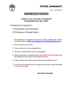 IMPORTANT NOTICE VPCOE, BARAMATI  Procedure for request for: