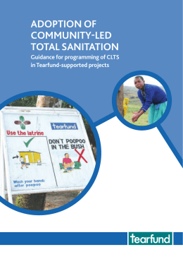 ADOPTION OF COMMUNITY-LED TOTAL SANITATION Guidance for programming of CLTS