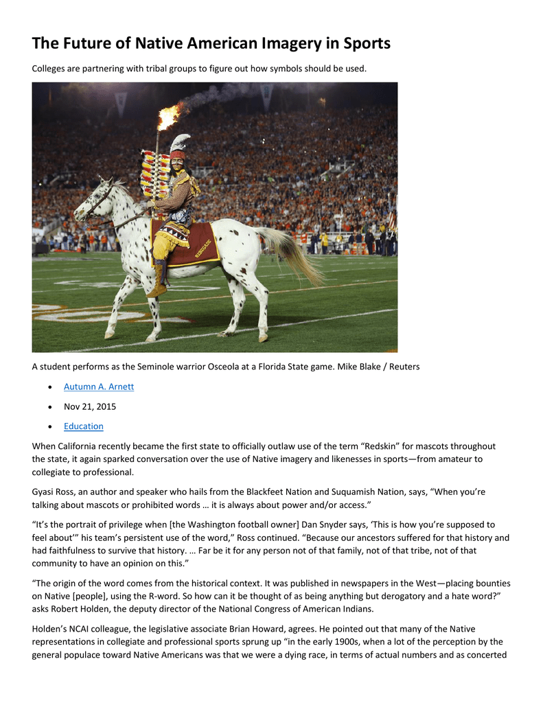 The Future Of Native American Imagery In Sports