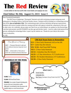 The Review Red Chief Editor: Mr. Bily  August 31, 2015  Issue...
