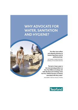 WHY ADVOCATE FOR WATER, SANITATION AND HYGIENE?