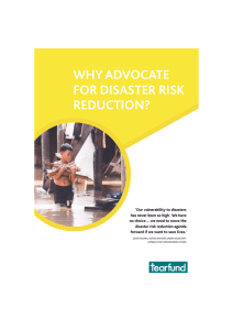 WHY ADVOCATE FOR DISASTER RISK REDUCTION?