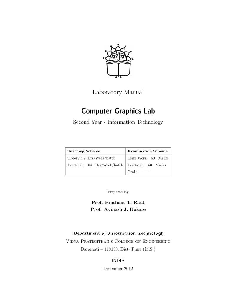 Computer Graphics Lab Laboratory Manual Second Year