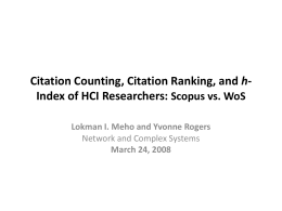 h Index of HCI Researchers: Scopus vs. WoS