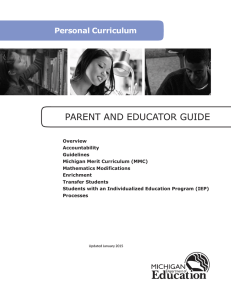 PARENT AND EDUCATOR GUIDE  Personal Curriculum