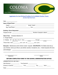 Application For Use Of School Facilities For An Athletic Practice /...