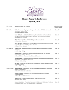 Honors Research Conference April 16, 2016
