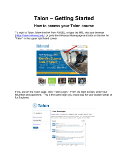 Talon – Getting Started How to access your Talon course