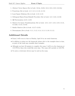 Math 317: Linear Algebra Exam 3 Topics