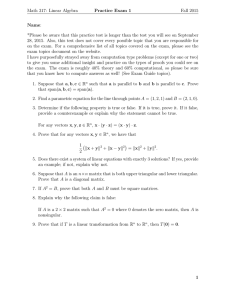 Math 317: Linear Algebra Practice Exam 1 Fall 2015 Name: