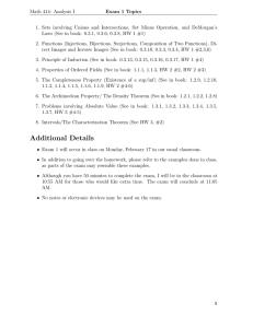 Math 414: Analysis I Exam 1 Topics
