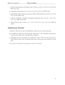 Math 414: Analysis I Exam 3 Topics