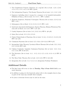 Math 414: Analysis I Final Exam Topics