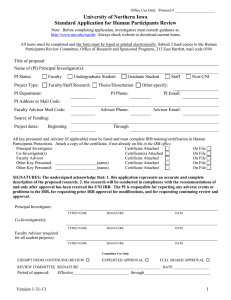 University of Northern Iowa Standard Application for Human Participants Review