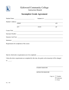 Kirkwood Community College Incomplete Grade Agreement Instruction Branch