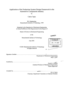 Application  of the Production  System  Design Framework ... Automotive  Components  Industry Carlos  Tapia