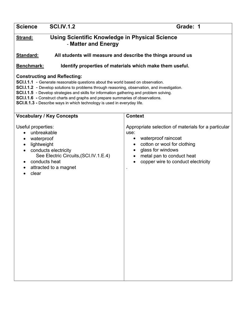 Science SCI IV 1 2 Grade: 1