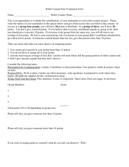 Roller Coaster Peer Evaluation Form