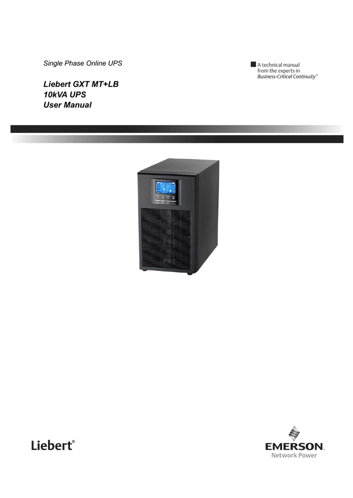 Liebert GXT MT+LB 10kVA UPS User Manual