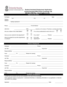 Student Assistant Employment Application Central Housing Office Pacer Crossings 130