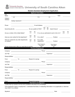 Student Assistant Employment Application