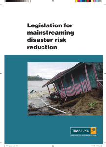 Legislation for mainstreaming disaster risk reduction