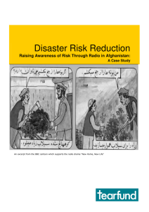 Disaster Risk Reduction Raising Awareness of Risk Through Radio in Afghanistan: