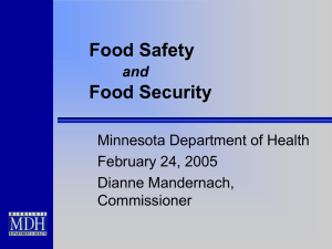 Food Safety Food Security and Minnesota Department of Health