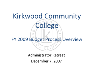 Kirkwood Community College FY 2009 Budget Process Overview Administrator Retreat