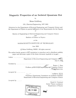 Magnetic  Properties of  an  Isolated  Quantum... Brian  Goldberg