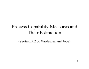 Process Capability Measures and Their Estimation (Section 5.2 of Vardeman and Jobe) 1