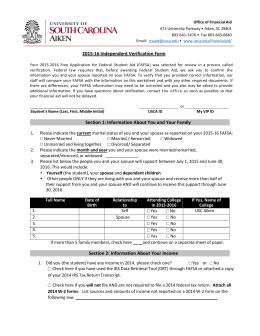2016-2017 VERIFICATION WORKSHEET (V1) Financial Aid Office