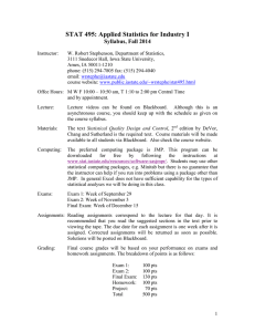 STAT 495: Applied Statistics for Industry I Syllabus, Fall 2014