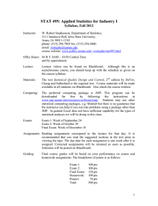 STAT 495: Applied Statistics for Industry I Syllabus, Fall 2012