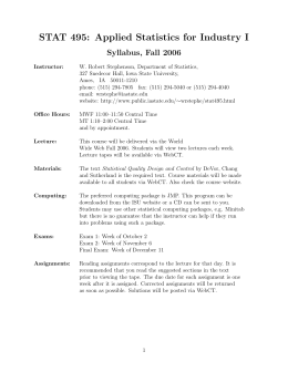 STAT 495: Applied Statistics for Industry I Syllabus, Fall 2006