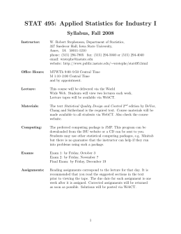 STAT 495: Applied Statistics for Industry I Syllabus, Fall 2008