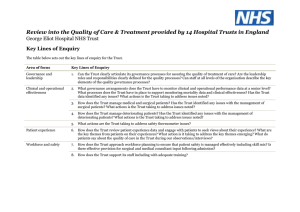 Review into the Quality of Care & Treatment provided by... George Eliot Hospital NHS Trust Key Lines of Enquiry