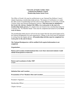 University of South Carolina Aiken National Pan-Hellenic Council Membership Intake Intent Form
