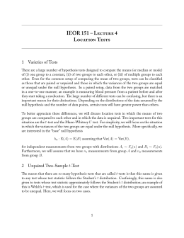 IEOR 151 – L 4 L T 1 Varieties of Tests