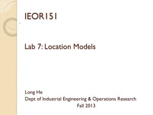 IEOR151 Lab 7: Location Models Long He