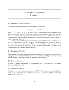 IEOR 290A – L 14 S 1 Nonlinear Dynamical Systems